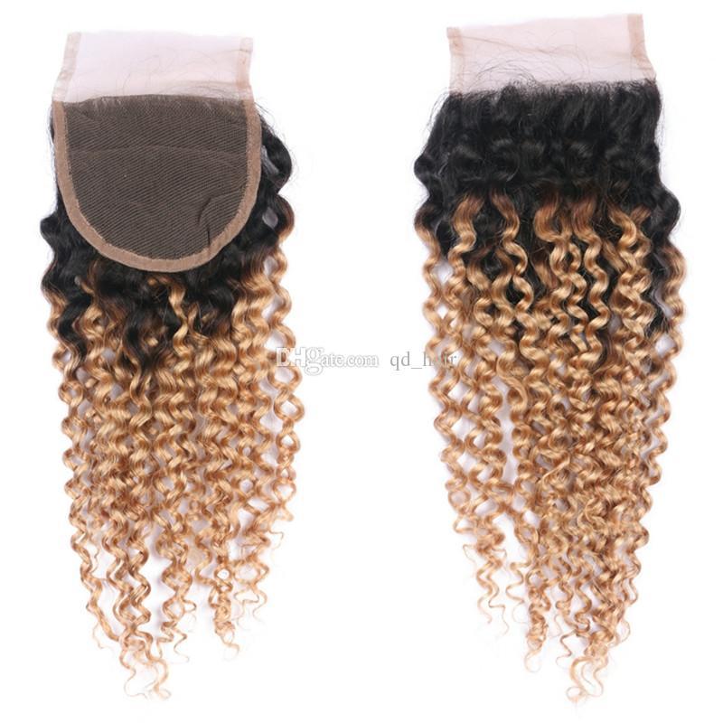 Ciemne korzenie Ombre 1B 27 Kręcone włosy Wątek z zamknięciem 4x4 Honey Blonde 1B 27 Koronki Zamknięcie z perwersyjnym kręconym przedłużaniem włosów
