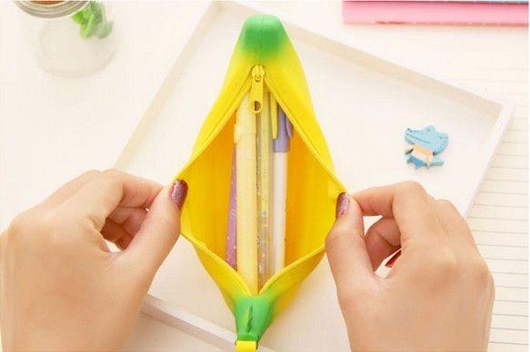 Sacchetti di cancelleria coreana Borse a matita in silicone Banana sacchetti di matita sacchetti di cancelleria sacchetti di cancelleria