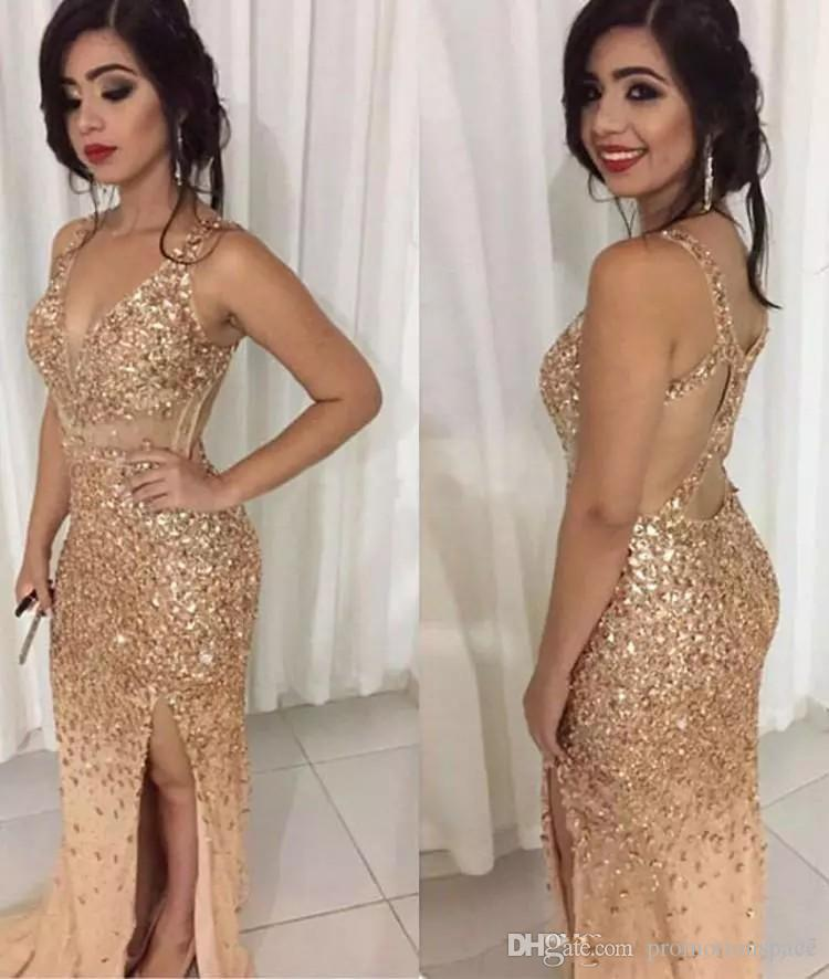 2017 Sexy Gold Crystal Mermaid Prom Dresses V Neck Sheer Straps Backless Tulle Split Sparkle Evening Gowns Luxury Pageant Dresses