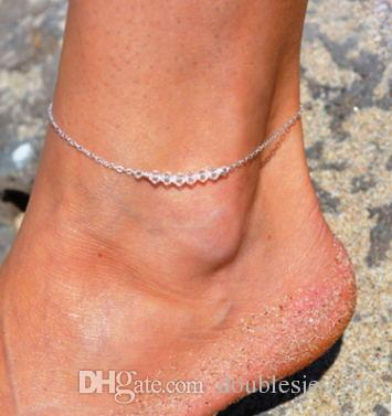 Europe and the United States are simple clear new alloy crystal Anklets simple foot ornaments wholesale fashion Anklet