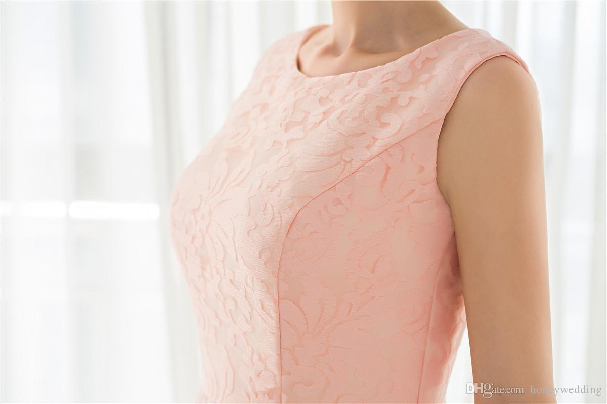 Modest Light Pink Brautkleider Jewel Neck Sleeveless Drapierte Spitze Günstige Echte Probe Auf Lager Brautkleider Unter 100 Mit Schnürung Zurück