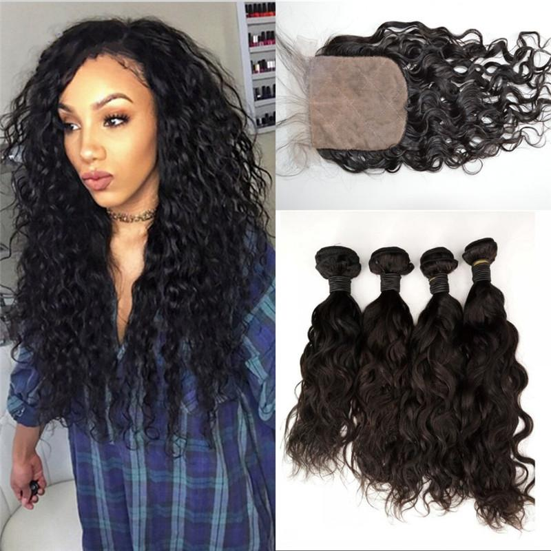 2018 4 Wefts With Closure Asian Human Hair Natural Color Virgin Hair
