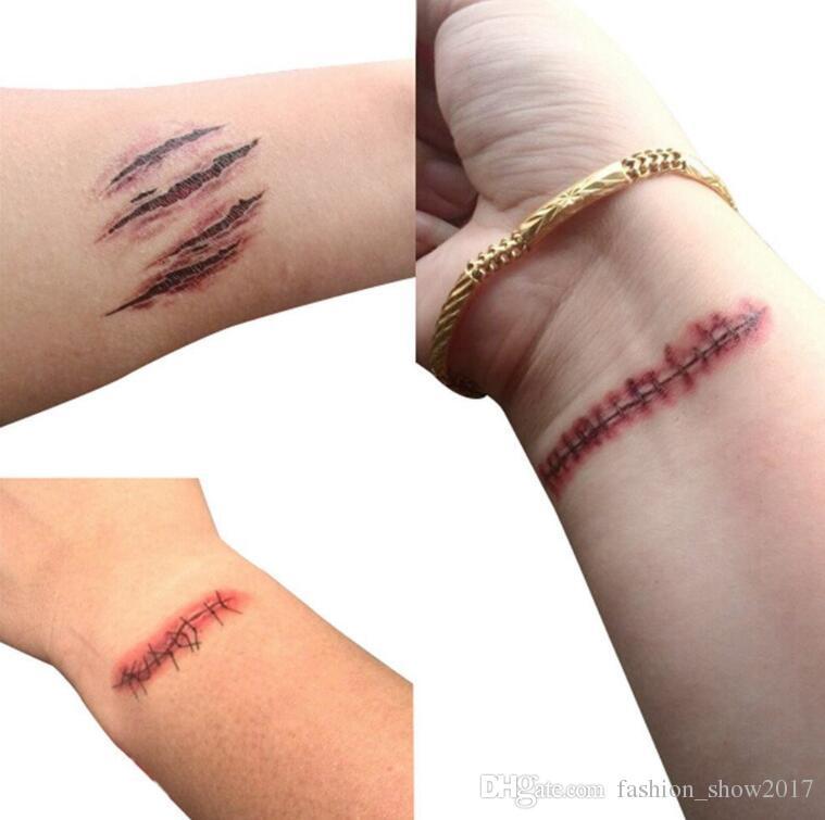 Hot Halloween Scratch Wound Scab Blood Scar Tatuaggi Temporary Tattoo Sticker Cosplay Wound Zombie Scars Halloween Party