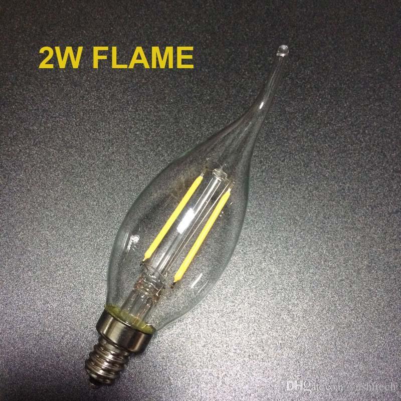 E12 E14 E26 Base regulable 2/4 / 6W LED Filamento Candelabros Bombillas 110lm / w 2700K 110V 220V C35 Bullet Top C35T Punta doblada COB Bombilla CE, aprobación UL
