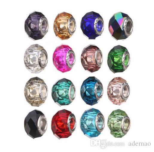 wholesale Sterling Silver Screw Fascinating Faceted Murano Glass Beads Fit Pandora Jewelry Charm Bracelets & Necklaces