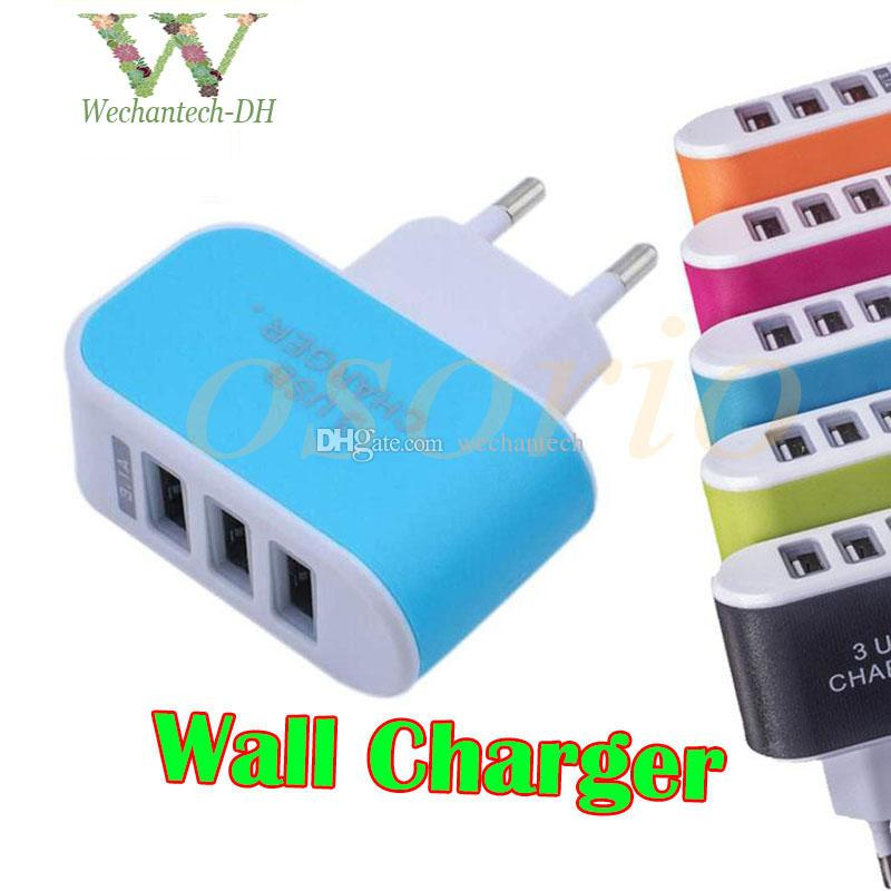 US EU Plug triple USB Ports Wall Charger 5V 3.1A LED Adapter Travel Convenient Power Adaptor For iPhone X 8 7 Plus 6s 6 Samsung