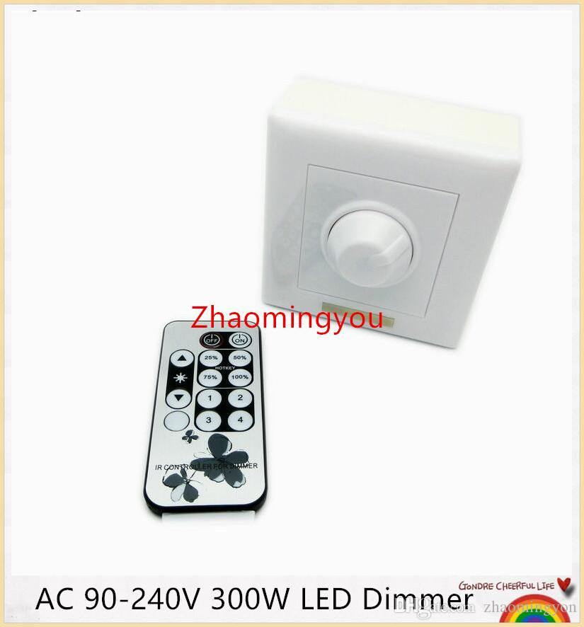 YON Free shipping 1PCS AC 90-240V 300W LED Dimmer IR Knob Remote control switch for dimmable LED bulb or LED strip lights