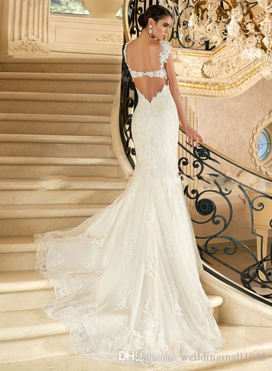 2016 Novas Alças de Ombro Sereias Vestidos de Casamento Sexy Backless Lace Applique Trailing Vestido De Noiva De Luxo A Noiva Casada Casamento
