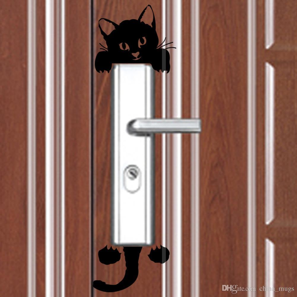 스위치 스티커 DIY 웃긴 귀여운 검은 고양이 스위치 스티커 데 칼 벽 스티커 홈 인테리어 침실 어린이 방 조명 병 스티커