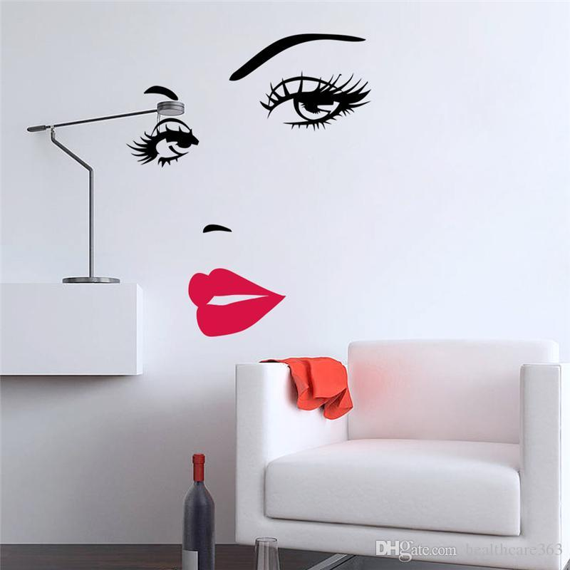 sexy girl lip eyes wall stickers living bedroom decoration diy vinyl adesivo de paredes home decals mual art poster home decor