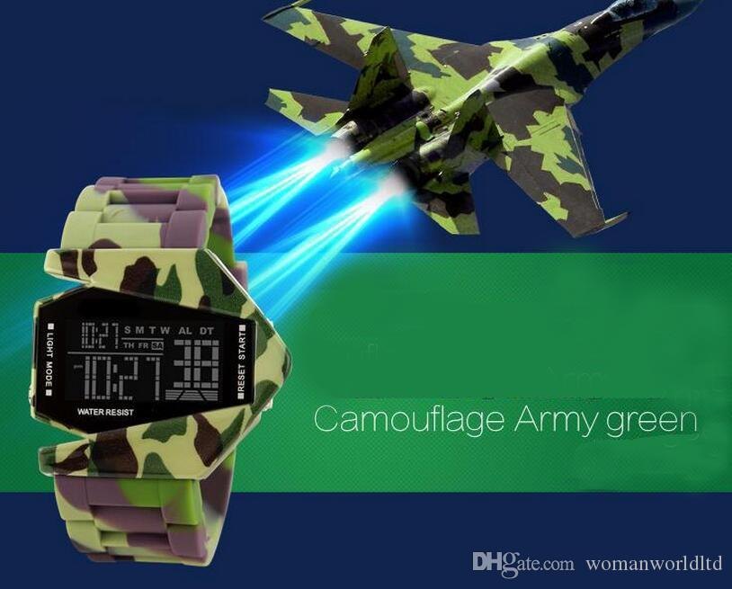 2016 nouveau style personnalité de l'avion hommes femmes vente montre LED gelée rétro haut de gamme montres de luxe couple montres livraison gratuite