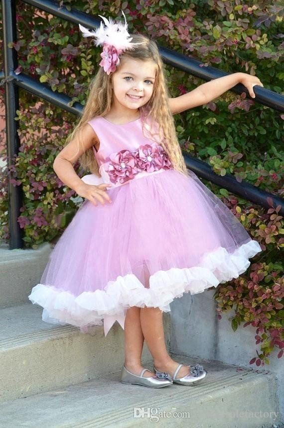 High Low Chic Flower Girl Dresses 2017 New Crew Neck with Handmade Flower A Line Tutu Cute Baby Kids Communion Gowns Custom