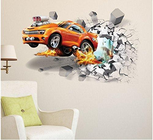Hot 3d Car Wall Stickers Creative Tv Background Bedroom Stickers, Living  Room Wall Decals By Dzy Size:50x70cm Spiderman Wall Stickers Sports Wall  Decals ...