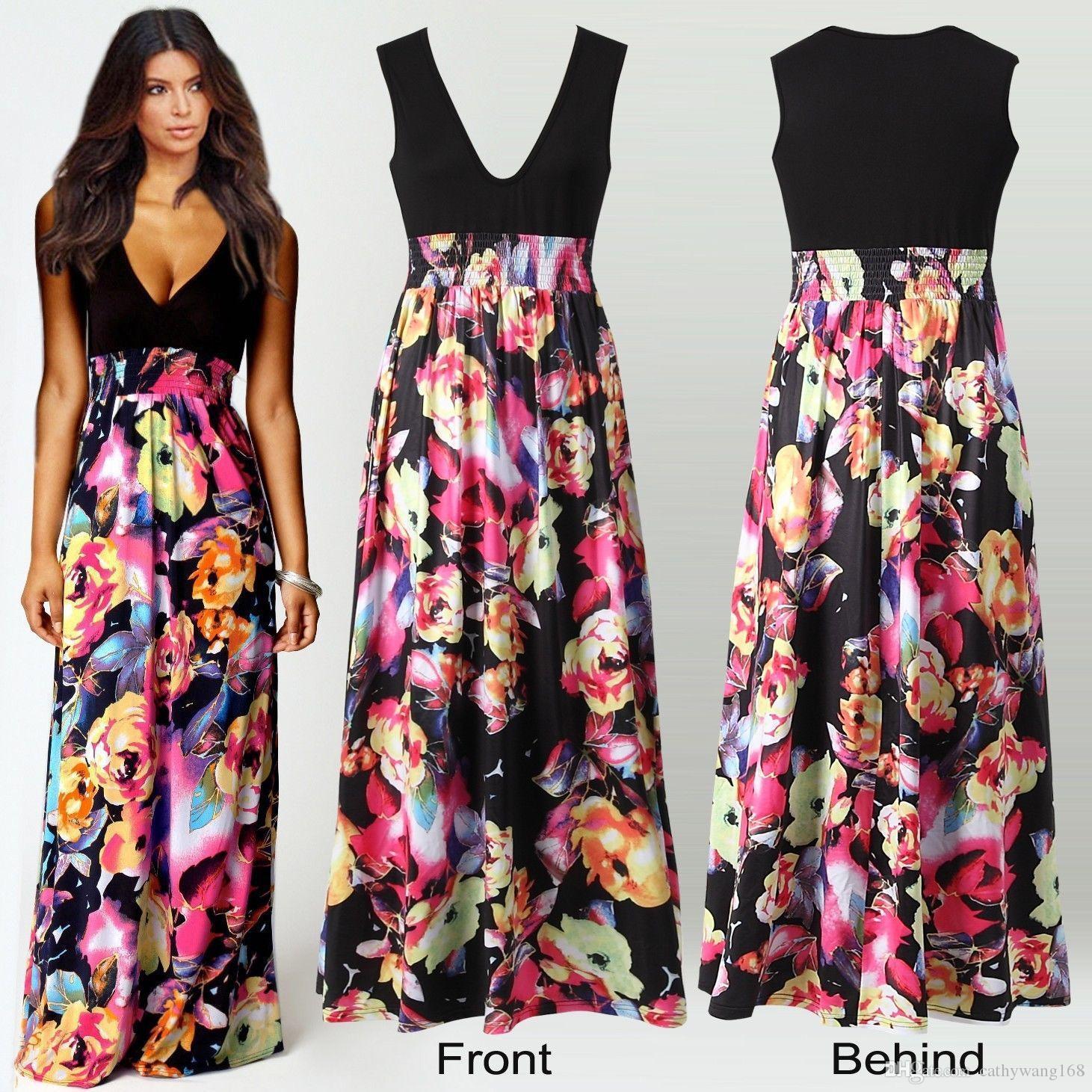 Großhandel 2016 Weinlese Frauen Blumen Maxi Kleidet Frauen Schwarz ...