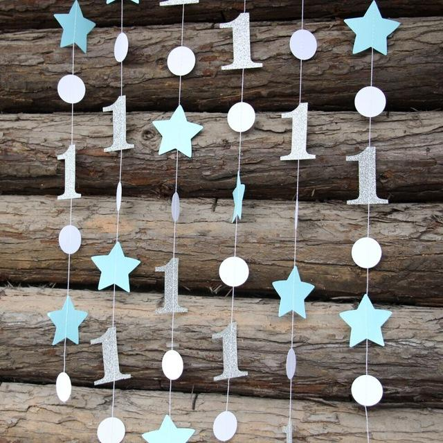 Blue And Silver Birthday Decorations Star Garland Onederland Decor