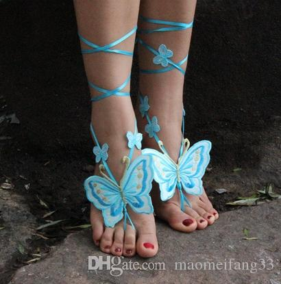 Jewelry Beach Pool Wear Butterfly Barefoot Sandals Stretch Anklet Chain With Toe Retaile Sandbeach Wedding Bridal Bridesmaid Foot Jewelry