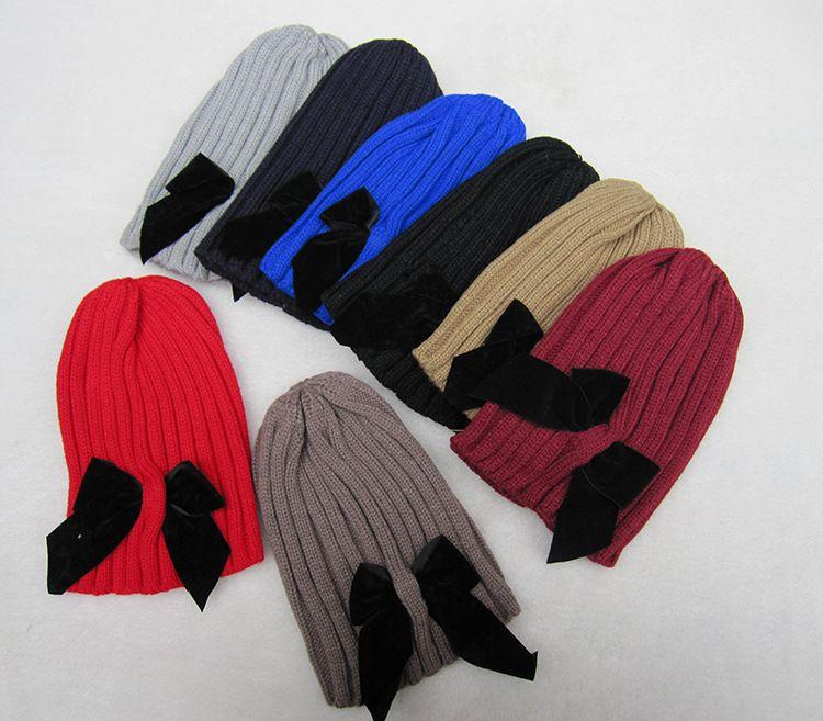 Cute Children Crochet Hats Girls Caps Hats Bow Winter Hats Beanies Caps Fashion Hand Knitted Caps Kids Woolen Cap