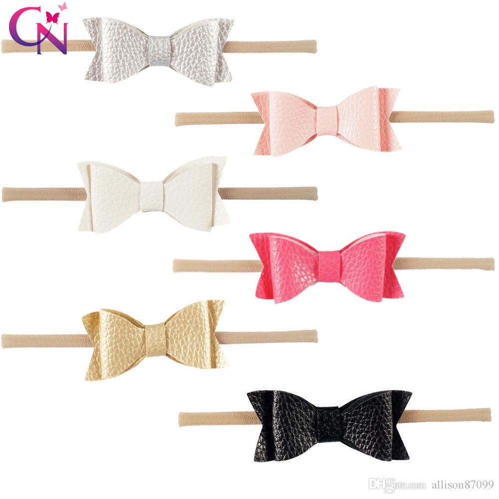 Headbands Baby girl Hair accessories PU bow Nylon elastic head bands Hand-made Girl Bow baby gifts Fashion Hotsale Boutique 2017 wholesale