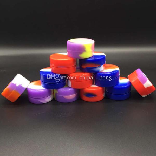 Nonstick 왁 스 컨테이너 실리콘 상자 5 ml 실리콘 컨테이너 비 - 스틱 식품 학년 왁 스 항아리 dab 도구 스토리지 항아리 오일 홀더 기화기 vape