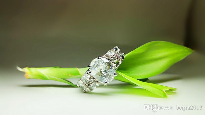 높은 학년 18K 솔리드 옐로우 골드 도금 크리스탈 지르콘 보석 반지 금 약혼 결혼 연인 커플 링, 무료 배송 도매