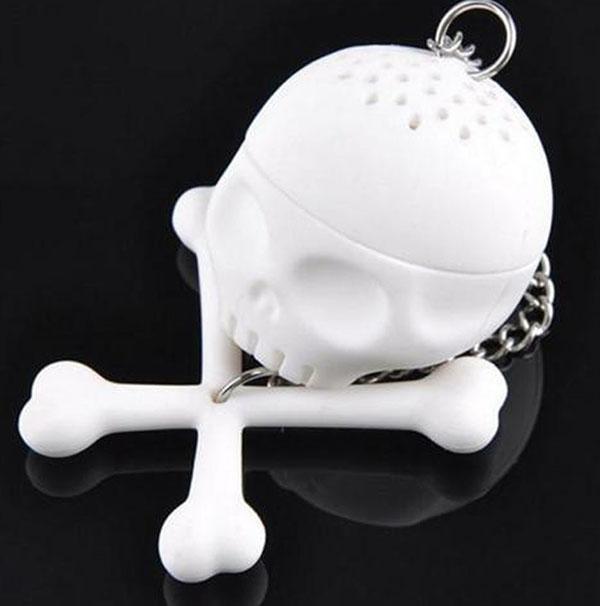 Cráneo tibias cruzadas Infusor de té Filtro de silicona Filtro de té de hojas sueltas Tea Lover taza Taza de café regalo creativo suministros de fiesta de Halloween