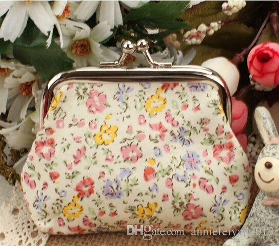 Mini Brieftasche Größe 9 * 8 cm Geburtstag / Weihnachtsgeschenke Baumwolle Pastoralen Tuch Blumendruck Schnalle Dame Geldbörse Brieftasche Kleinigkeiten / Chaos Kits Geldbörsen