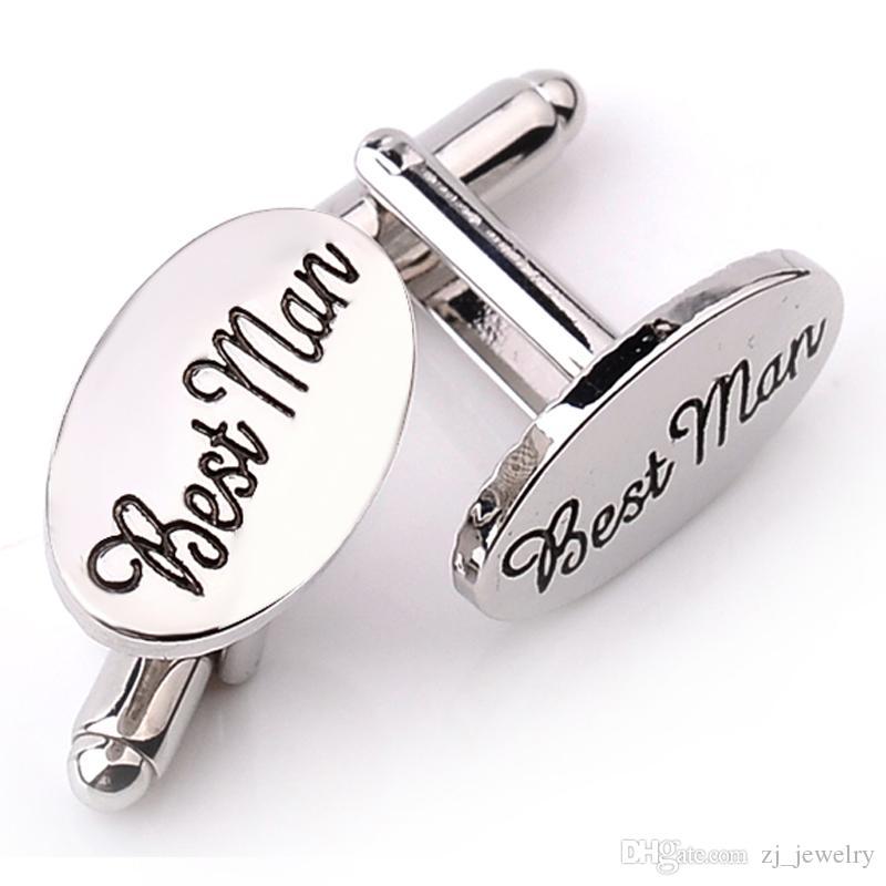 Gemelos de boda para hombre OVAL Camisa Clips de enlace de puño Best Man / Grooms / Padrino de boda Usher Page Accesorios de regalo