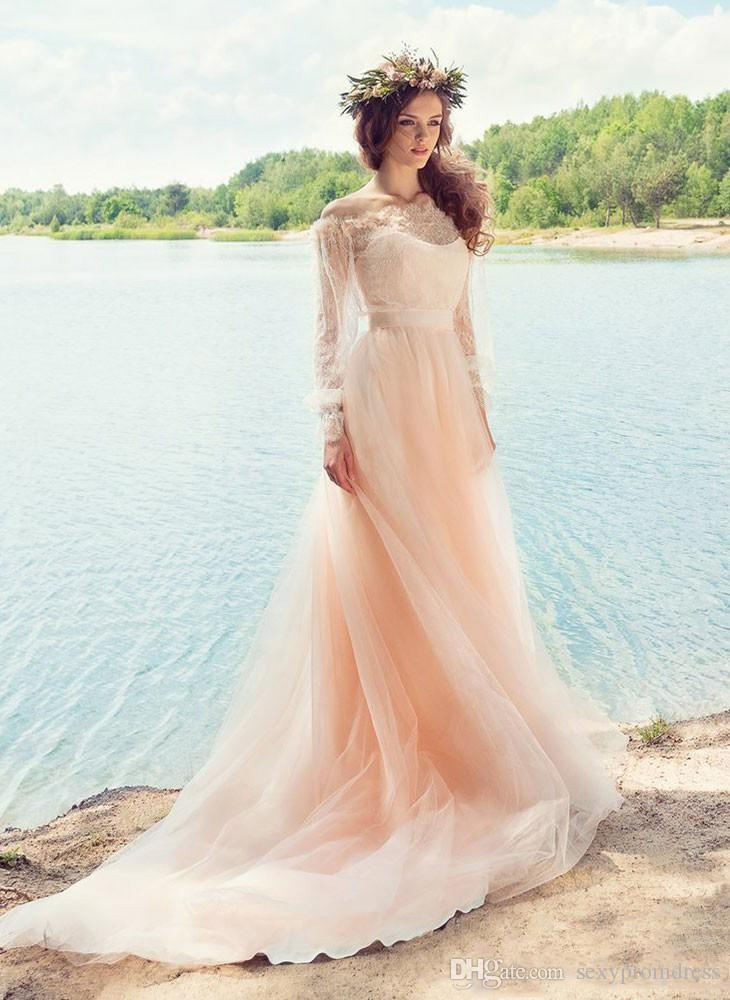 Pink Fairy Wedding Dresses Country Style Off Shoulder Long Sleeves Sheer Neck With Applique Wedding Gowns Soft Tulle Bridal Dresses
