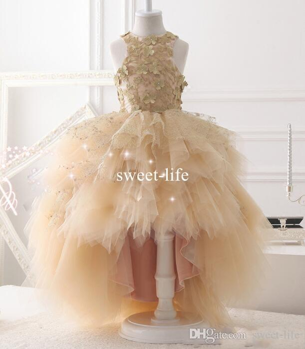 Sweety Champagne Hi-Lo 2019 Ball Gown Flower Girls Dresse Jewel 3D-Floral Appliques Tulle Tiered Skirts Party Communion Dresses
