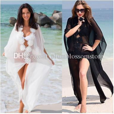fdac34a9a27d9 2019 Beach Bikini Cover Ups White Flowers Chiffon Maxi Dress Summer Long  Blouses Sheer Shirts Women Sunscreen Swimwear Seaside Holiday Beachwear  From ...