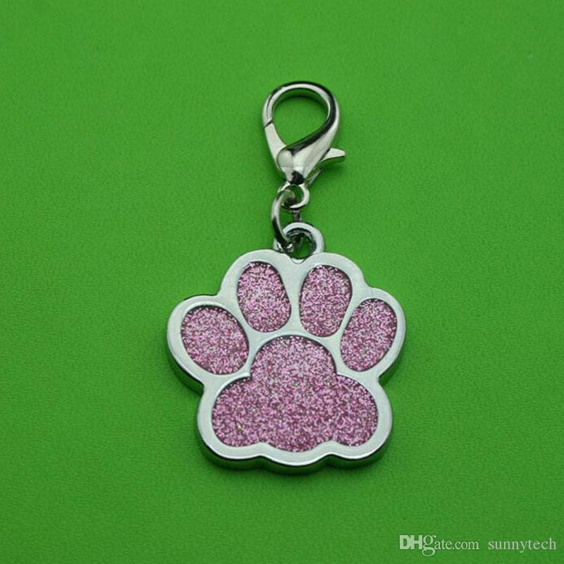 Lovely Dog Paw Footprint Alloy Pet Dog Cat ID Card Tag Ornamenti collana con gancio Pet Ciondolo gioielli ZA5430