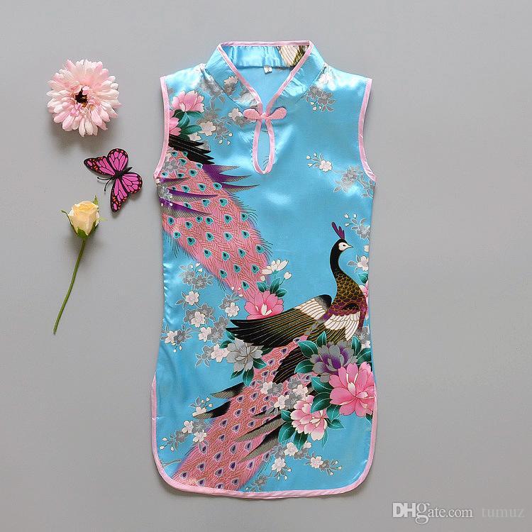 Vestido de las muchachas del estilo chino de la moda El más nuevo Flower Birds Algodón Ropa de los niños Vestido de Qipao del niño Ropa del bebé de la vendimia Flor de la moda Peac