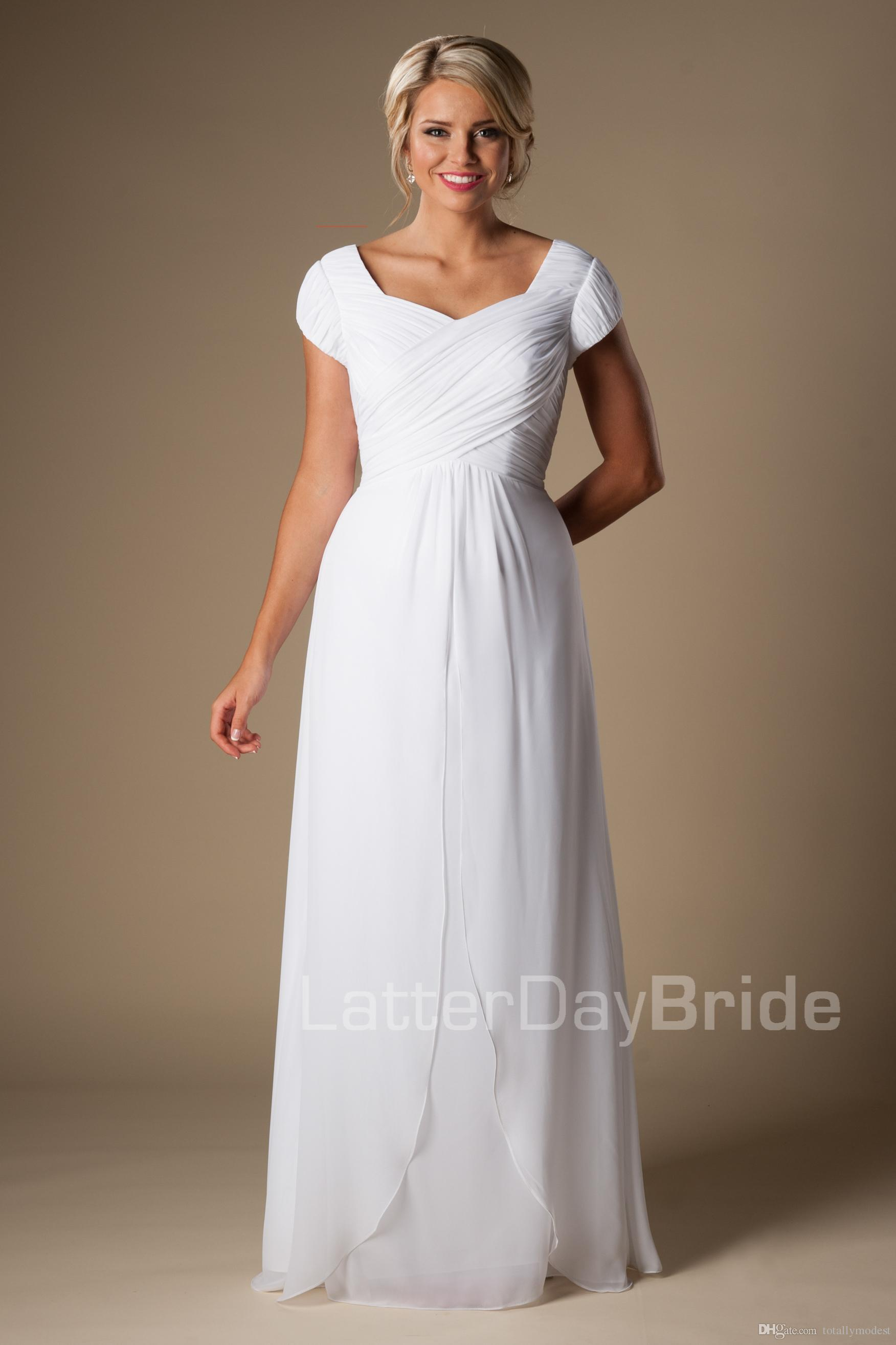 e5cb2a2a202 ... informal ruched chiffon modest cap sleeves wedding dresses with sleeves  queen anne neck bridal gowns a ...