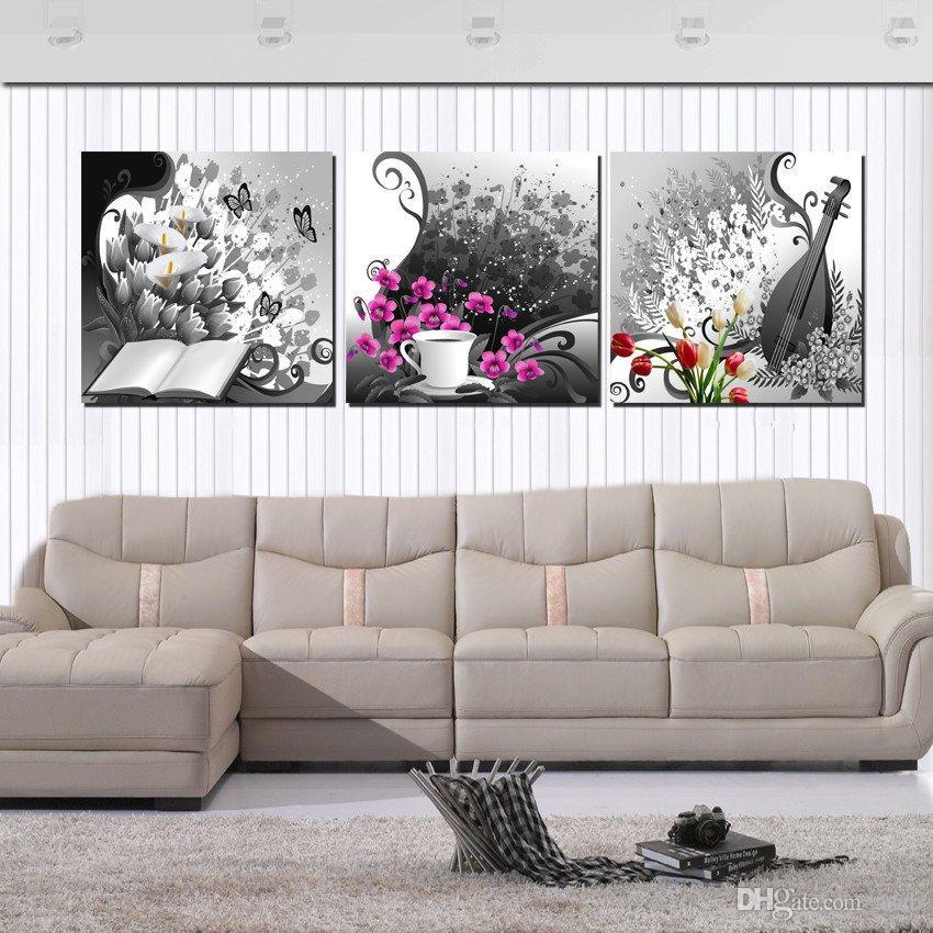 Unframed Home decoration artimagens de tela de lona cavalo chinês caracteres tulipas flor abstrato dos desenhos animados árvores pastagens beira-mar