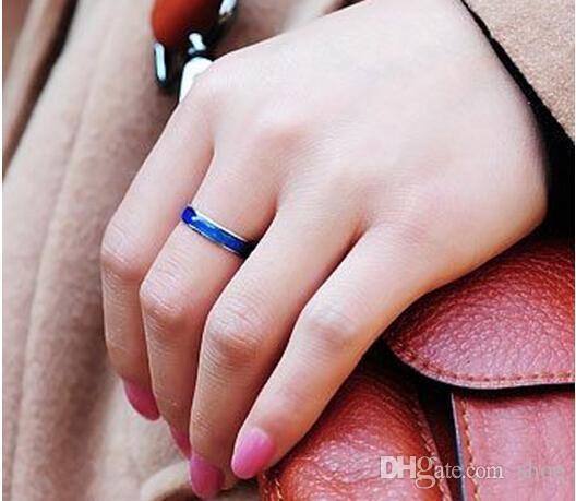 Epack freies Verschiffen Fashion Mood Ring ändern Farben Ringe Größe 16 17 18 19 20 Edelstahl