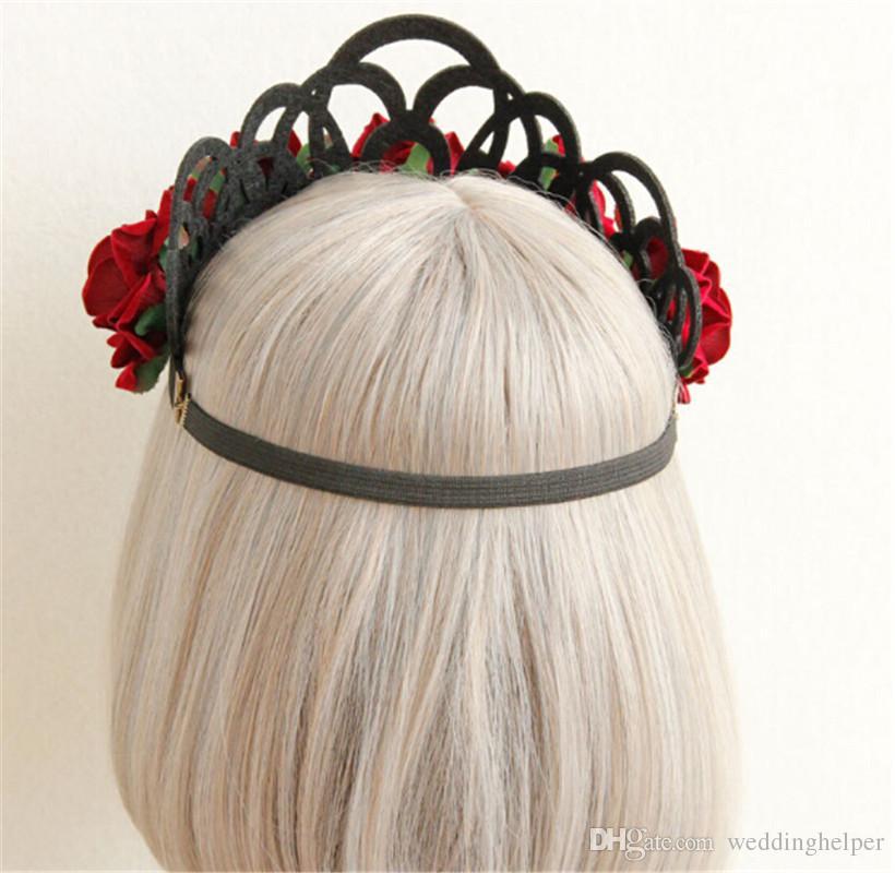 Wedding Flower Crown Tiara Floral Christmas Headband Headpiece Red Rose Hair Garland Headdress Hair Accessories Jewelry Supplier Wholesales