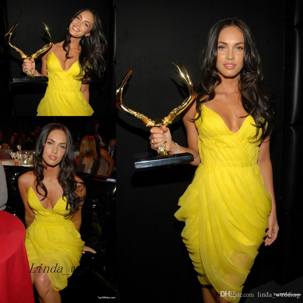 aa8cfbe28 Sexy Yellow Colour Megan Fox Evening Dress Spaghetti Straps Red Carpet  Short Celebrity Prom Dress Party Gown Long Sleeved Evening Dress Luxury  Evening ...