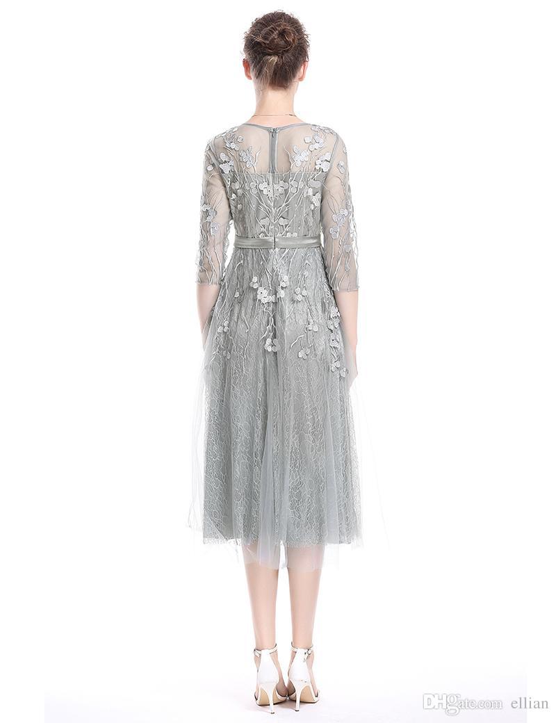 Haft Luxury Women A-Line Sukienka 3/4 Sexy Sheer Sleeve Sukienki 0917131