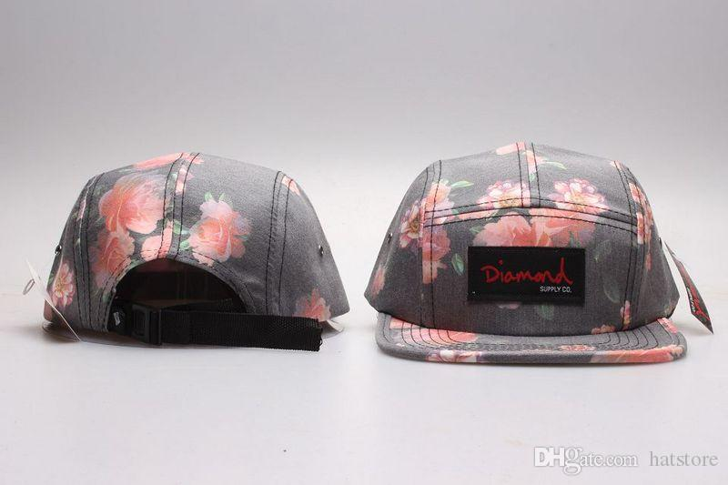 Newest Hotest flower strapback 5 panel Hats Snapback Hats Caps Men 2016 Snapbacks Adjustable Diamond supply co Snap back caps Top YP_5174