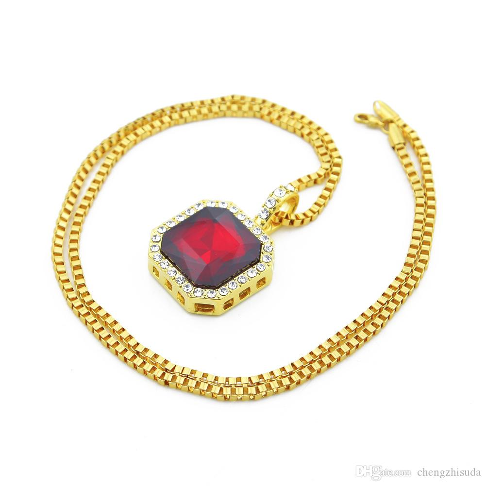 Fashion Bling Bling Iced Out Ruby Pendant Chain Gold Square Red Black Blue Green White RUBY Pendant 24inches Chain Necklace