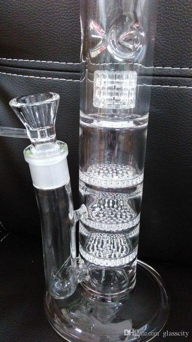 Novo 17.5 polegada de vidro bong com 3 Waffle filtro de disco de favo de mel 18mm filtro de água dos pneus frete grátis
