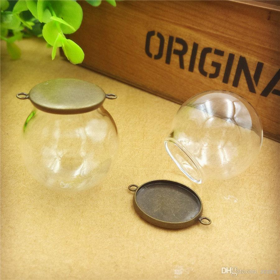 30x20mm empty clear glass globe bottle with cap two hanger ring glass dome cover glass vial pendant charms fashion jewelry finding