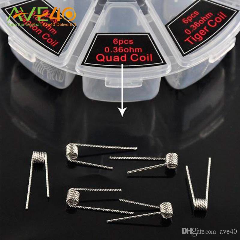 Assassino do demônio Fio 8 em 1 Kit de caixa de bobina pré-fabricada Flat torcido fundido Clapton Hive premade envoltório fios Alien Mix torcido Tiger Quad