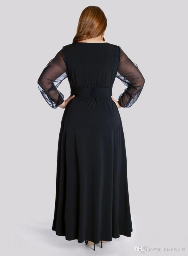 Черный Длинный Рукав Плюс Размер Вечерние Платья V Шеи Кристалл Пояс Длина Пола Вечерние Платья Линии Элегантный Особый Случай Платье