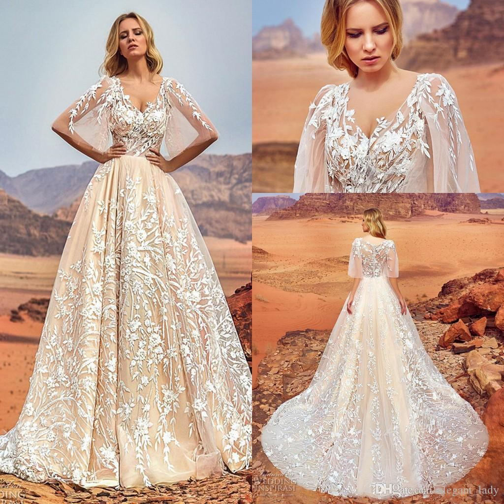Oksana Mukha Champagne Free People Outdoor Wedding Dresses with ...