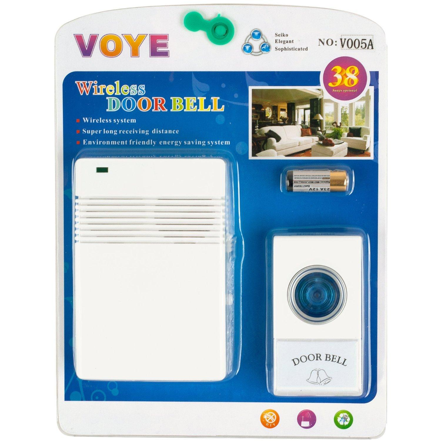 Voye V005A Wireless Remote Control Doorbell with 10 Different ...