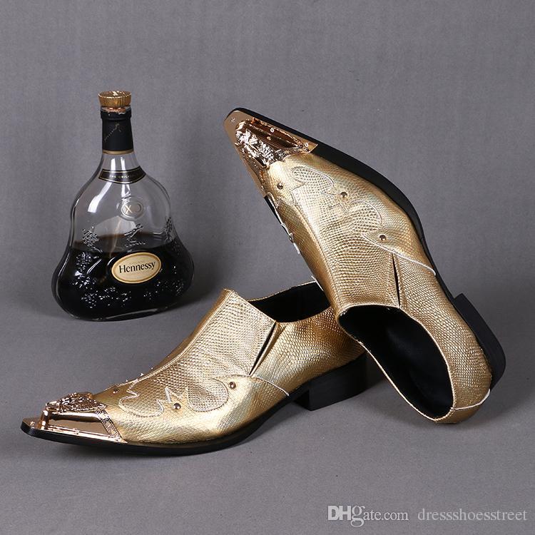 Novità di lusso scarpe da uomo vestito di cristallo Gold Fashion Bling Bling piatte Scarpe Party On Slip-