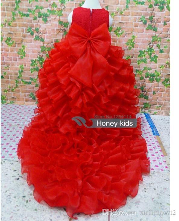 Blumenmädchenkleider Red Chiffon Tailing Festzug Kleider Mädchen Sommerkleider für Hochzeiten Party Geburtstag Kleid mit großem Bogen 2-12 Jahre