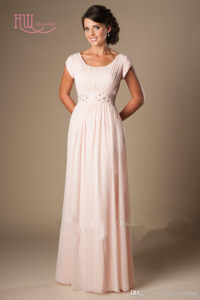 Light Pink Long Bridesmaid Dresses Cheap Short Sleeves