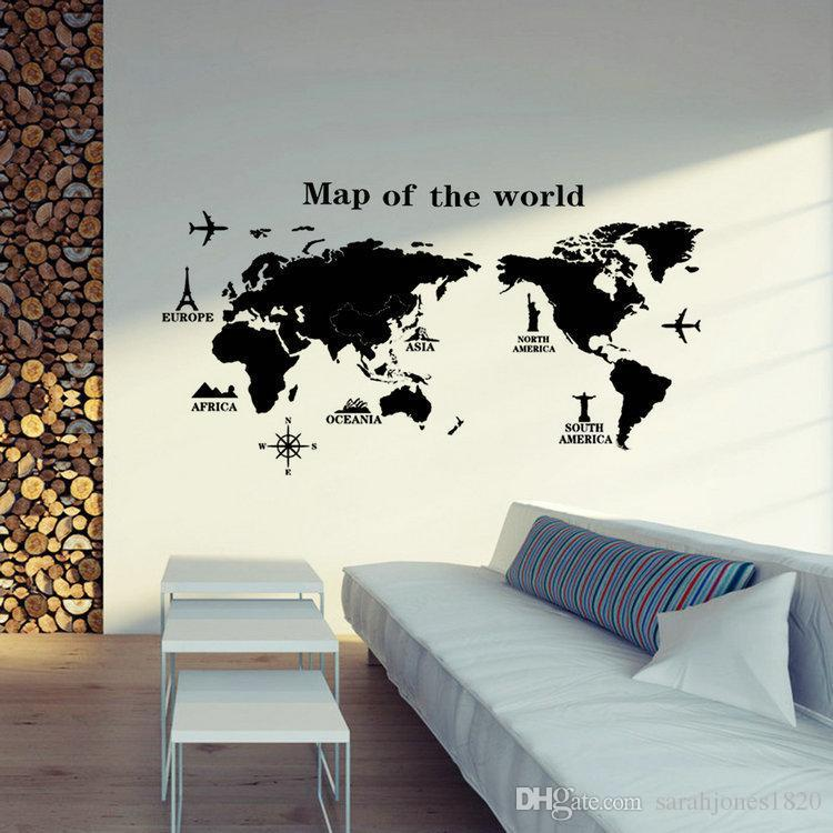 Large world map wall stickers original creative map wall art bedroom large world map wall stickers original creative map wall art bedroom home decorations wall decals gift stickers for decorating walls stickers for home from gumiabroncs Image collections